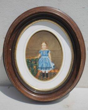 "Ca 1870's 7""x5"" W/c Of A Young Girl In A Blue Dress W"