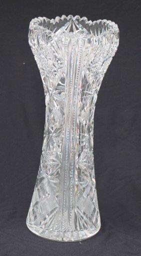 "Fine American Brilliant Cut Glass 12"" Vase W Flared &"