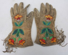 "Fine Pr Of Native American Beaded Gloves - 11"" Tall"