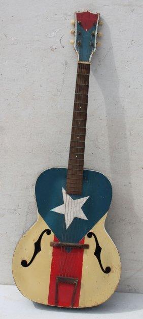 "Antique ""silvertone"" Acoustic Guitar In Patriotic Red,"