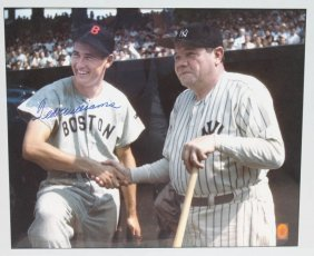 Beautiful Framed Photo Of Ted Williams & Babe Ruth Sgnd