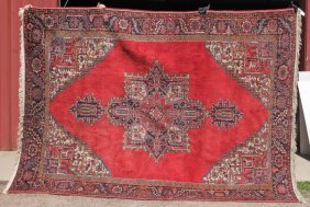"7'3""x10'3"" Semi-antique Persian Heriz Oriental Rm Size"