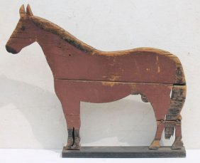 Great Lg Folk Art Wooden Carved Horse In Orig Red &