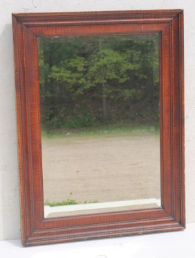 Great Very Bold Antique Tiger Maple Beveled Mirror -