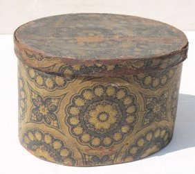 19thc Pa Oval Wooden Wallpaper Band Box In Vibrant