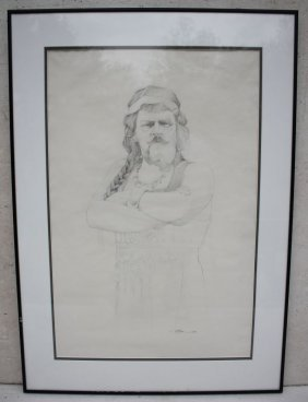 "Sgnd Barry Moser 26""x17"" Sight Size Graphite Drawing"