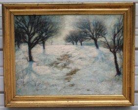 "18""x24"" O/c Winter Landscape In The Manner Of Joseph"