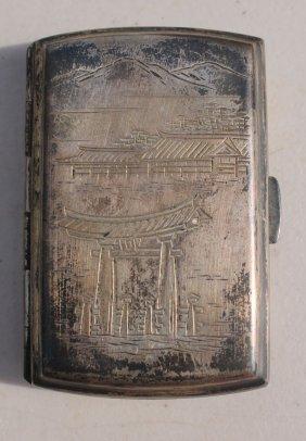 Antique Asian .925 Silver Engraved Dec Cigarette Case -