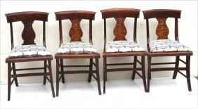 Set Of 4 19thc Tiger Maple Sabre Leg Vase Back Chairs W
