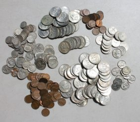 Lot Of American Coins Incl Pennies, Nickels, Dimes,
