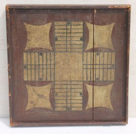 Wonderful 19thc Parcheesi Board In Great Orig Paint -