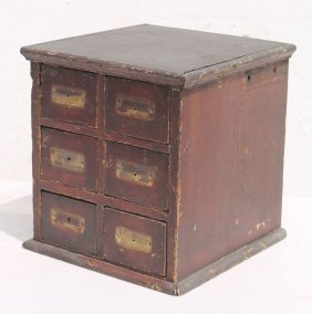 19thc Small 6 Dr Apothecary Chest In Red Paint - 12""