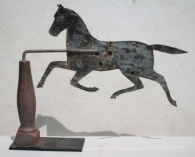 19thc Sheet Iron Running Horse Weathervane In As Found