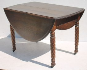 19thc Rare Vict Chestnut Dropleaf Table On Rope Turned