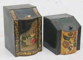 "2 Antique Tole Tea Tins - 12"" & 9"" Tall"