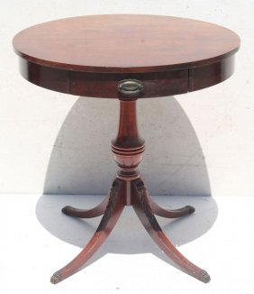 "Sgnd Mersman 26"" Round 1 Dr Drum Table On Carved Legs"