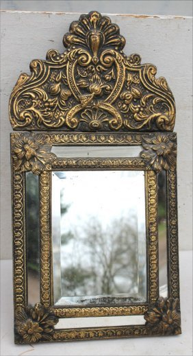 Very Ornate Brass Embossed Wall Hanging Beveled Glass