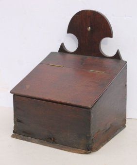 Early Dovetailed Slant Lid Wall Box W Shaped Top &