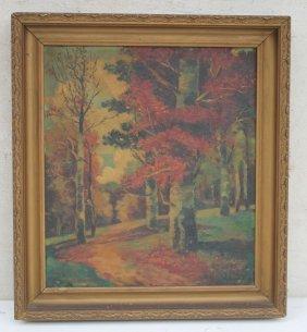 "Sgnd Illegibly 18""x16"" O/bd Autumn Landscape"