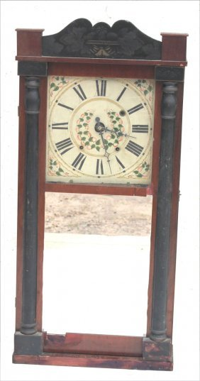 """Antique Mantle Clock - As Is - 34 1/2"""" Tall"""