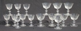 Set Of 16 Pcs Of Good Quality Matched Crystal Stemware
