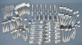 """Stieff """"Rose"""" Repousse Sterling Flatware"""