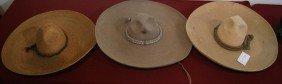 3 Vintage Large Mexican Sombreros