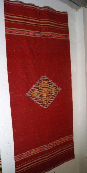 "Mexican Red Saltillo Blanket 84"" X 37"""