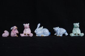 6 Herend Porcelain Animals. Bears & Rabbits
