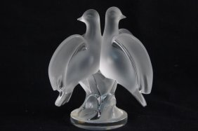 Lalique Crystal Double Dove Figurine