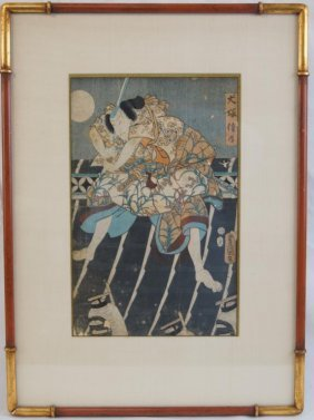 Toyokuni Iii (kunisada) 1786-1865 Wood Block Print