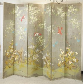 19th Cent. Painted Japanese 6 Panel Screen