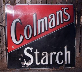 Vintage Coleman's Advertising Starch Enameled Sign