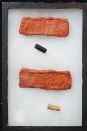 2 Bactrian Seal Beads- Pictorial 2200-1700 Bc