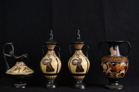 Four Museum Amphora & Athena Greek Vases