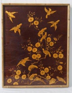 Framed Gilt Japanese Lacquer Bird Panel From Cher
