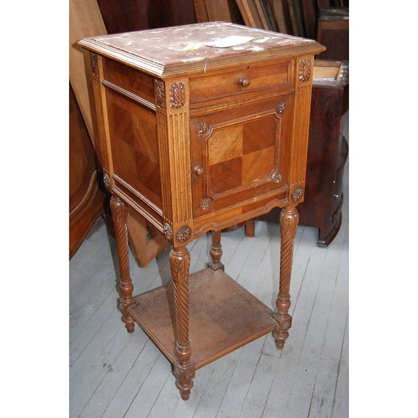 4166 Antique Sunflower Side Table With Red Marble Top