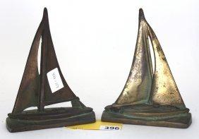 BRASS SHIP BOOKENDS