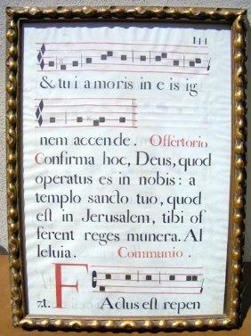 Framed Ecclesiastical Sheet Music.