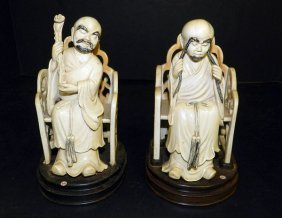 Pair Of Antique Carved Ivory Priests