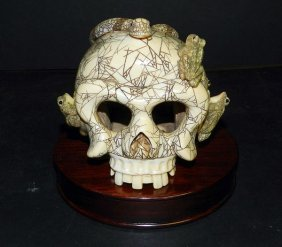 Antique Carved Ivory Skull With Snake