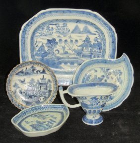 Five Pieces Of Chinese Export Canton Porcelain
