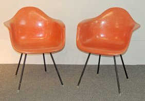 Two Eames Shell Armchairs