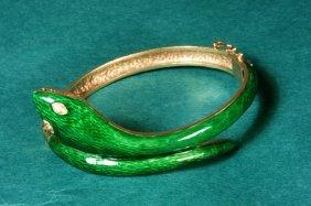 Enamel 14Kt  Gold Diamond Snake Bracelet
