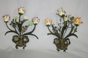 Pair Of Bronze And Porcelain Floral Sconces