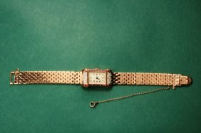 14Kt Rose Gold Diamond Retro Watch