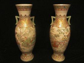 Antique Japanese Royal Satsuma Palace Vases