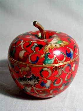 20thc. Chinese Cloisonne Apple Box
