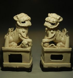 Pair Of Ming Dynasty Porcelain Foo Dogs