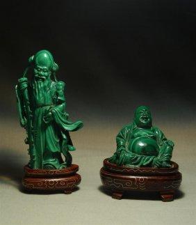 Chinese Malachite Seated Buddha & Elder